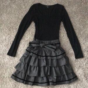 Black and grey long sleeve ruffle dress